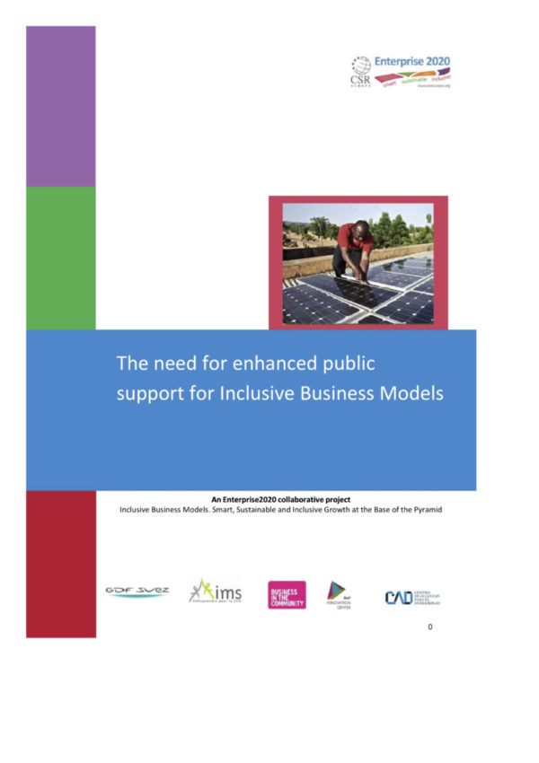 The need for enhanced public support for Inclusive Business Models